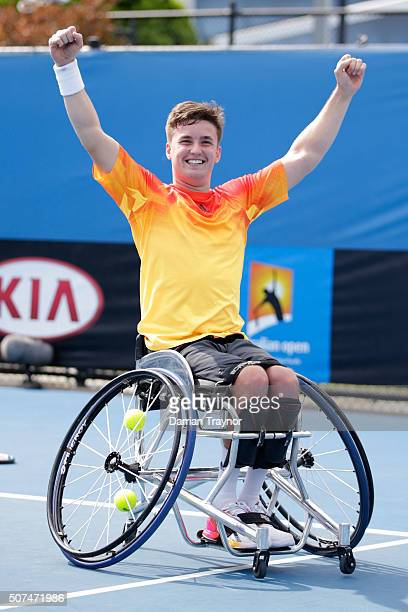 Gordon Reid of Great Britain celebrates winning his Men's Wheelchair Singles Final match against Joachim Gerard of Belgium during the Australian Open...