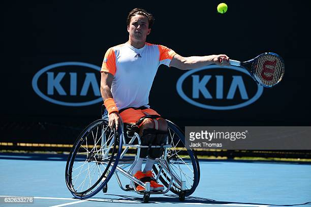 Gordon Reid of Great Britain competes in his quarterfinal match against Joachim Gerard of Belgium during the Australian Open 2017 Wheelchair...