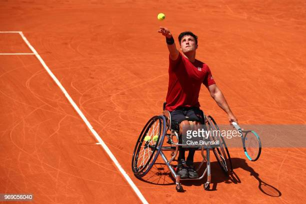 Gordon Reid of Great Britain competes in the mens singles wheelchair first round match against Alfie Hewett of Great Britain during day twelve of the...