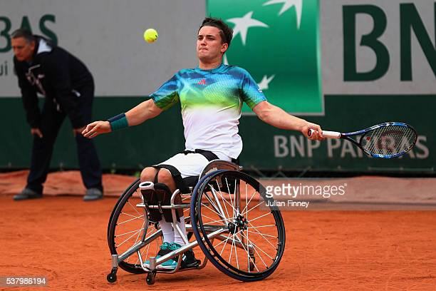 Gordon Reid of Great Britain hits a forehand during the Men's Wheelchair Singles final match against Gustavo Fernandez of Argentina on day fourteen...
