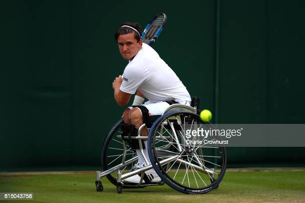 Gordon Reid of Great Britain in action during his men's doubles wheel chair tennis final against Stephane Houdet and Nicolas Peifer of France on day...