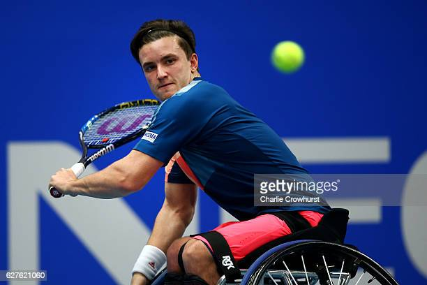 Gordon Reid of Great Britain in action during his mens final match against Joachim Gerard of Belgium Day 5 of the NEC Wheelchair Tennis Masters at...