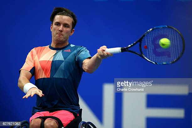 Gordon Reid of Great Britain in action during the mens final match against Joachim Gerard of Belgium on Day 5 of the NEC Wheelchair Tennis Masters at...