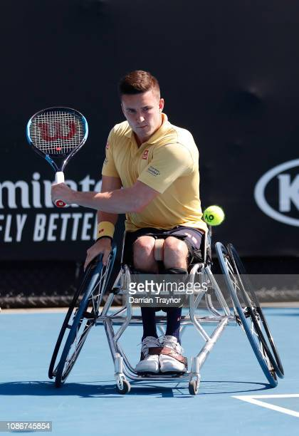 Gordon Reid of Great Britain plays a backhand in his Men's Wheelchair Singles quarter final match against Stephane Houdet of France during day 10 of...