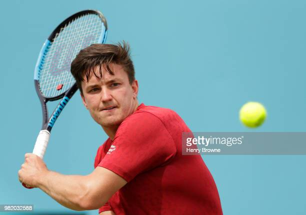Gordon Reid of Great Britain plays a shot during the men's wheelchair match against Stephane Houdet of France during Day 6 of the FeverTree...