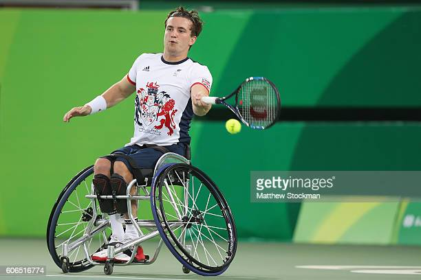 Gordon Reid of Great Britain returns a shot at the Men's Wheelchair Final Final during day 9 of the Rio 2016 Paralympic Games at the Olympic Aquatics...