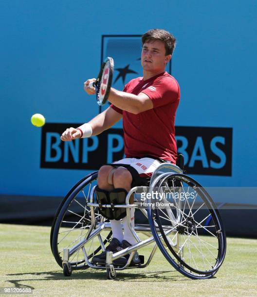 Alfie Hewett of Great Britain serves during the men's wheelchair doubles against Stephane Houdet and Nicolas Peifer of France during Day 5 of the...