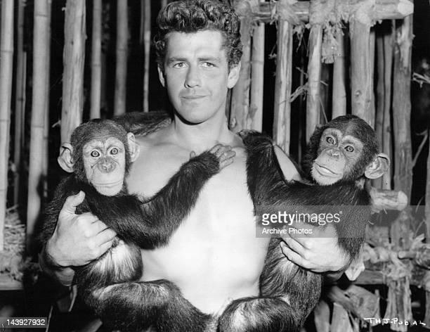 Gordon Scott publicity portrait with chimpanzees from the film 'Tarzan's Hidden Jungle' 1955