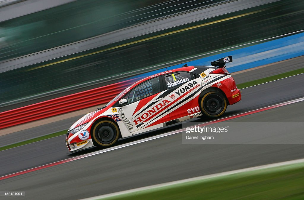 Gordon Shedden drives the #1 Honda Yuasa Racing Honda Civic during practice for the Dunlop MSA British Touring Car Championship race at the Silverstone Circuit on September 28, 2013 in Towcester, United Kingdom.