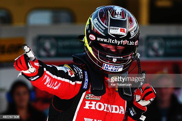 Gordon Shedden of Honda Racing celebrates winning the championship after the Final Round of the Dunlop MSA British Touring Car Championship at Brands...