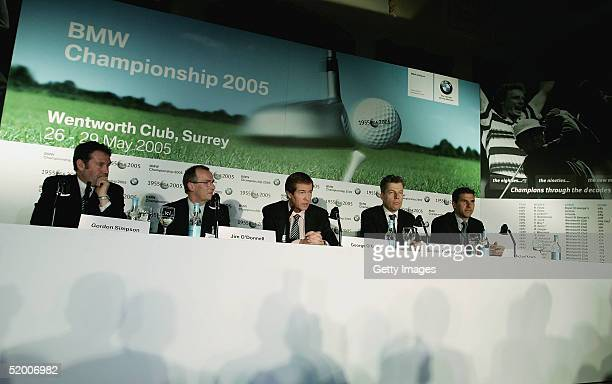 Gordon Simpson European Tour Jim O'Donnell of BMW George O'Grady Executive Director of the European Tour Torsten MullerOtvos and Michael Kirsch of...