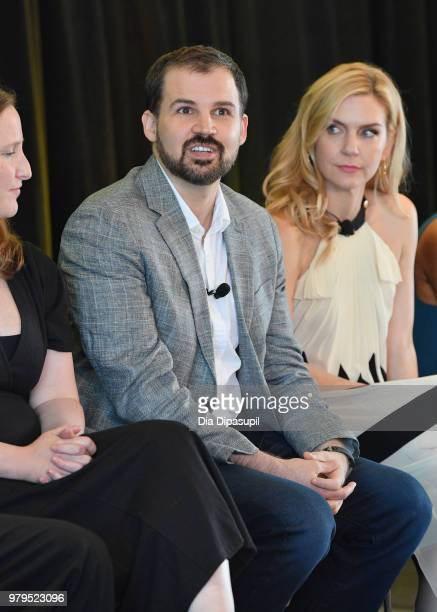 Gordon Smith and Rhea Seehorn speak onstage during the 'Masterclass With Better Call Saul' Panel at the AMC Summit at Public Hotel on June 20 2018 in...