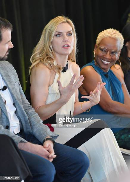 Gordon Smith Rhea Seehorn and Jennifer Bryan speak onstage during the 'Masterclass With Better Call Saul' Panel at the AMC Summit at Public Hotel on...