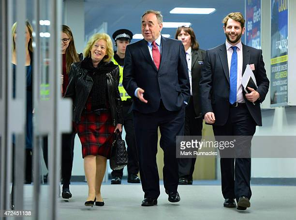 Gordon SNP candidate and Former First Minister Alex Salmond arrives at the Aberdeen Exhibition and Conference Centre with his wife Moira on May 08...