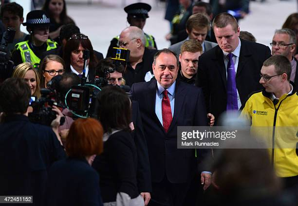 Gordon SNP candidate and Former First Minister Alex Salmond arrives at the Aberdeen Exhibition and Conference Centre on May 08 2015 in Aberdeen...