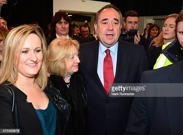 Gordon SNP candidate and Former Scottish First Minister Alex Salmond arrives at the Aberdeen Exhibition and Conference Centre with his wife Moira on...