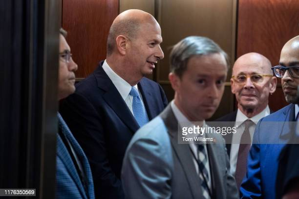 Gordon Sondland second from left US ambassador to the European Union arrives to the Capitol for his deposition as part of the House's impeachment...