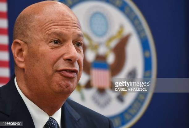 Gordon Sondland the United States Ambassador to the European Union adresses the media during a press conference at the US Embassy to Romania in...