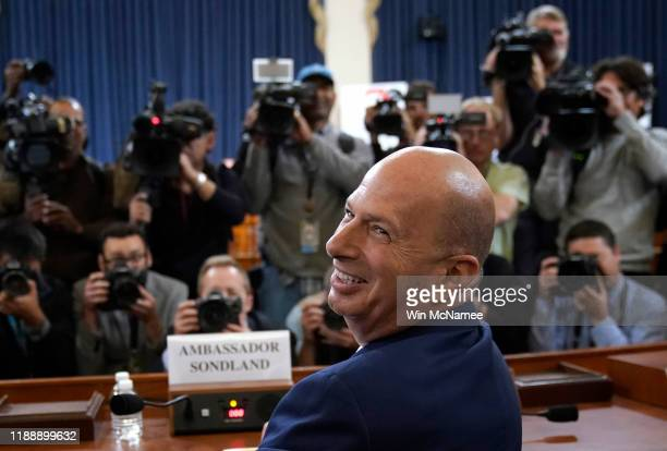 Gordon Sondland the US ambassador to the European Union arrives for testimony before the House Intelligence Committee in the Longworth House Office...