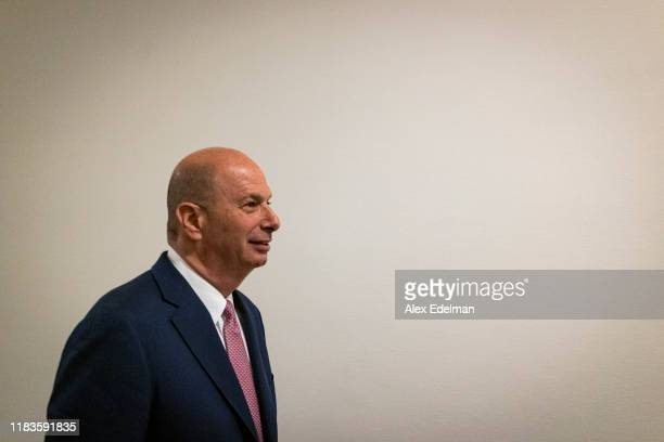 Gordon Sondland the US ambassador to the European Union arrives prior to testifying before the House Intelligence Committee in the Longworth House...