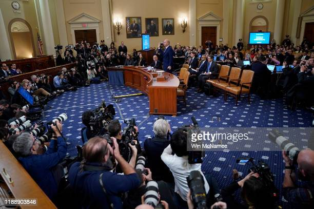 Gordon Sondland the US ambassador to the European Union is sworn in prior to testifying before the House Intelligence Committee in the Longworth...