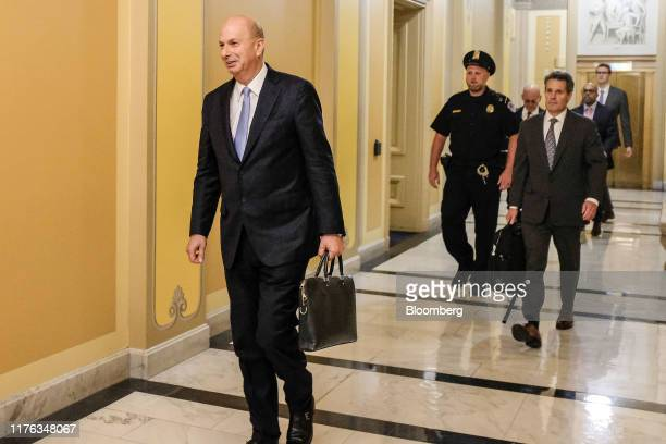 Gordon Sondland US ambassador to the European Union arrives for closeddoor testimony before House committees on Capitol Hill in Washington DC US on...
