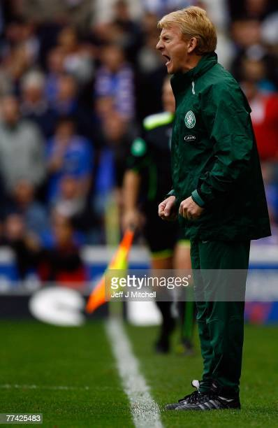 Gordon Strachan, coach of Celtic, reacts during the Scottish Premier League match between Rangers and Celtic at Ibrox Stadium on October 20 2007 in...