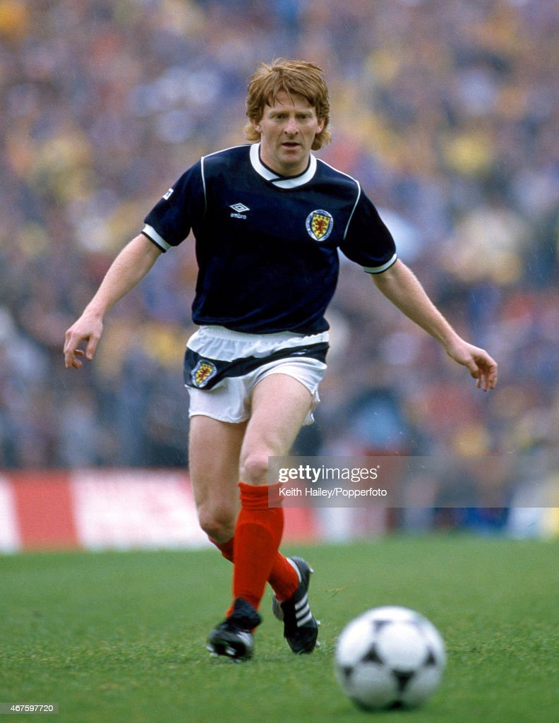 Gordon Strachan in action for Scotland, 25th May 1985.