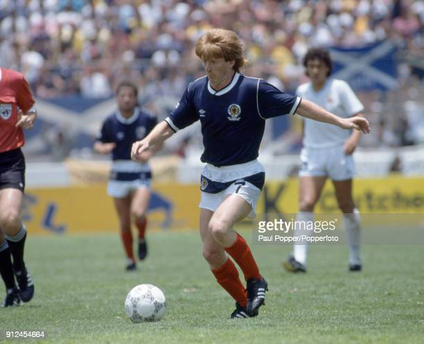 Gordon Strachan in action for Scotland during the FIFA World Cup match between Scotland and Uruguay at the Estadio Neza in Nezahualcoyotl Mexico 13th...