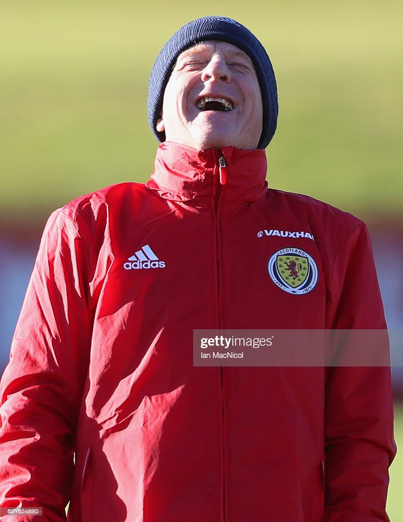 Gordon Strachan manager of Scotland laughs during a Scotland training session at Mar Hall on November 7, 2016 in Glasgow, Scotland. Scotland are due to face England in a World Cup qualifier on November 11th at Wembley.