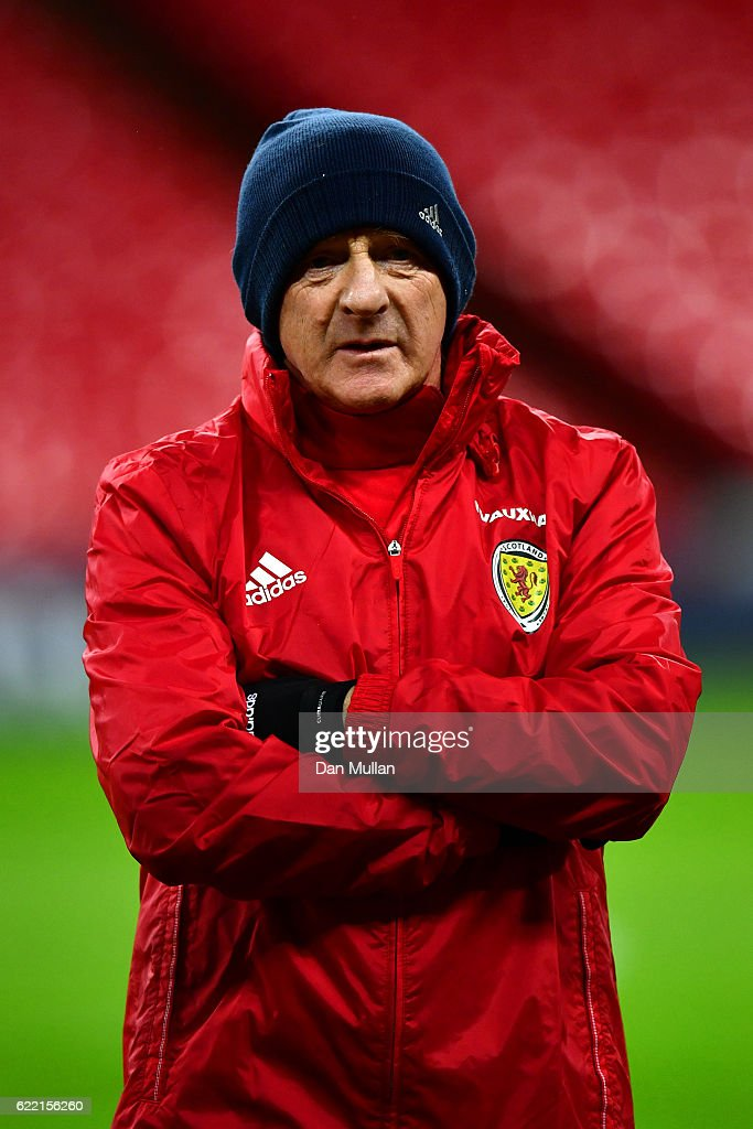 Gordon Strachan, manager of Scotland looks on during a training session ahead of the FIFA 2018 World Cup qualifying group F match against England at Wembley Stadium on November 10, 2016 in London, England.