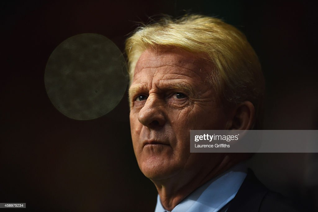 Gordon Strachan manager of Scotland looks on prior to the EURO 2016 Group D Qualifier match between Scotland and Republic of Ireland at Celtic Park on November 14, 2014 in Glasgow, Scotland.