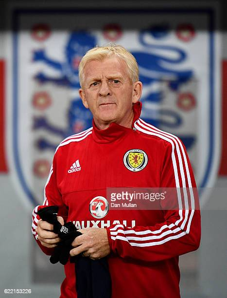 Gordon Strachan manager of Scotland walks out for a training session ahead of the FIFA 2018 World Cup qualifying group F match against England at...