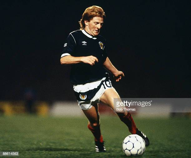 Gordon Strachan of Scotland during the Scotland v Bulgaria European Championship Qualifying match held in Glasgow Scotland on the 10th September 1986...