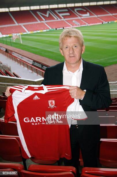 Gordon Strachan poses with a club shirt after a press conference held to present him as the new Middlesbrough manager at the Riverside Stadium on...