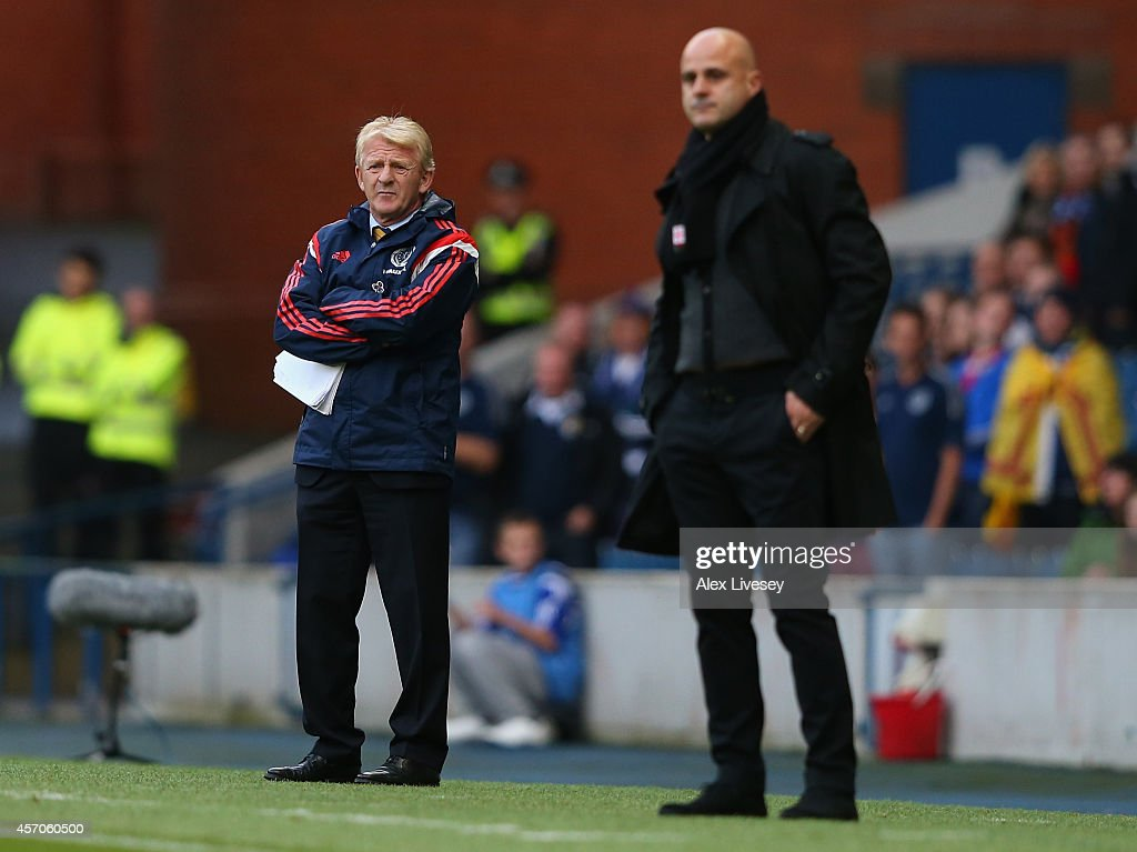 Gordon Strachan the coach of Scotland and Temur Ketsbaia the coach of Georgia look on during the EURO 2016 Qualifier match between Scotland and Georgia at Ibrox Stadium on October 11, 2014 in Glasgow, Scotland.