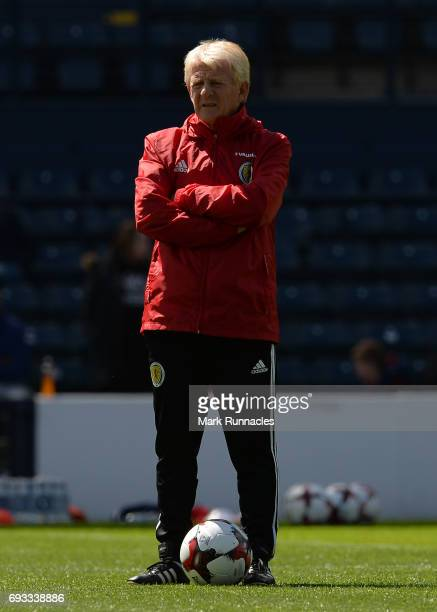 Gordon Strachan the manager of Scotland looks on during the Scotland training session at Hampden Park on June 7 2017 in Glasgow Scotland