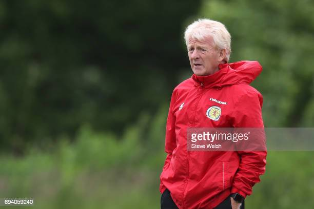 Gordon Strachan the Scotland manager watches over his players during the Scotland training session at Mar Hall on June 9 2017 in Glasgow Scotland