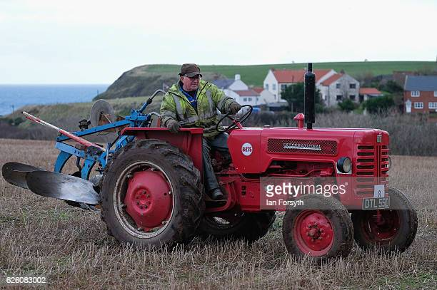 Gordon Sumley from Scarborough takes part in the annual ploughing match on November 27, 2016 in Staithes, United Kingdom. The event which is held...