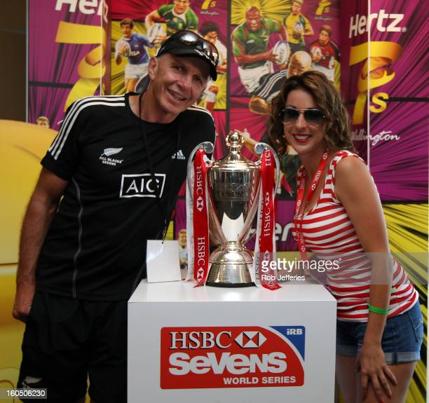 Gordon Tietjens poses for a photo with a fan during the Hertz Sevens Round four of the HSBC Sevens World Series Westpac Stadium on February 2 2013 in...