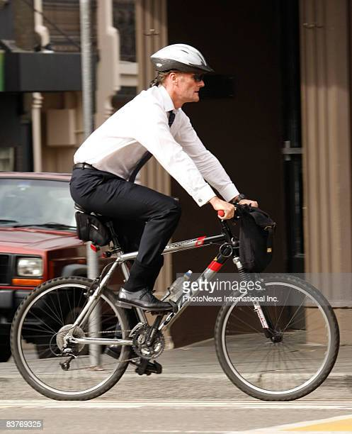 Gordon Wood cycles away from Darlinghurst Court as he waits for a jury decision on November 17 2008 in Sydney Australia Wood was accused of the...