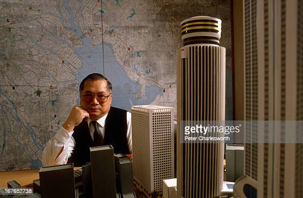 Gordon Wu head of Hopewell Holdings Ltd He is sitting behind a model of the Hopewell Center a large Hong Kong property development
