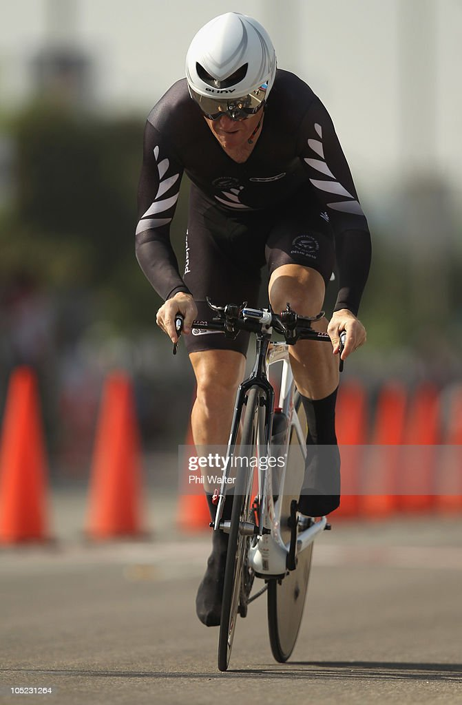Gordy McCauley of New Zealand competes in the Individual Time Trial during day ten of the Delhi 2010 Commonwealth Games on October 13, 2010 in Delhi, India.