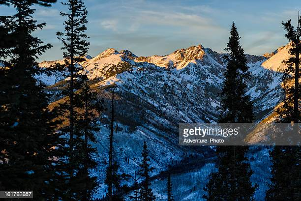 gore range mountain landscape in winter - gore range stock photos and pictures