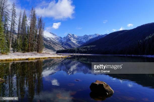 gore range winter piney lake - gore range stock photos and pictures
