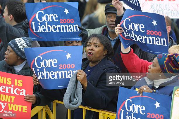 Gore supporters protest December 1 2000 outside the US Supreme Court in Washington DC During a historic session the Supreme Court heard arguments...