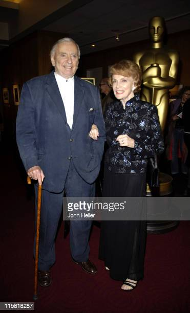 Gore Vidal and Joan Leslie during The Greta Garbo Centennial Hosted by Academy of Motion Picture Arts and Sciences at Academy Of Motion Picture Arts...