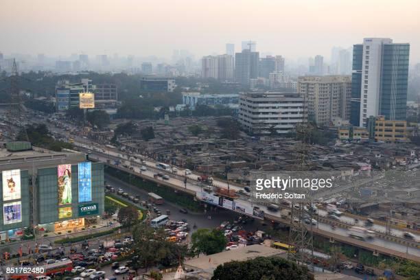 Goregaon neighborhood of Mumbai View of the shanty town and residential neighbourhood of Goregaon a locality of the Mumbai city in the Mumbai...