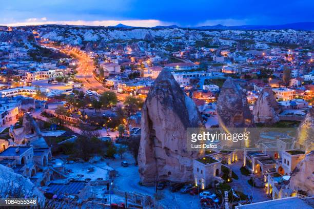 goreme overview at dusk - physical geography stock pictures, royalty-free photos & images