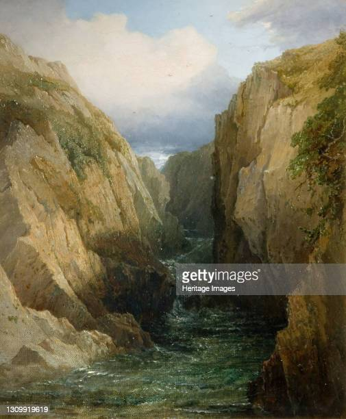 Gorge And River In Ireland, 1860. Artist Thomas Baker. .